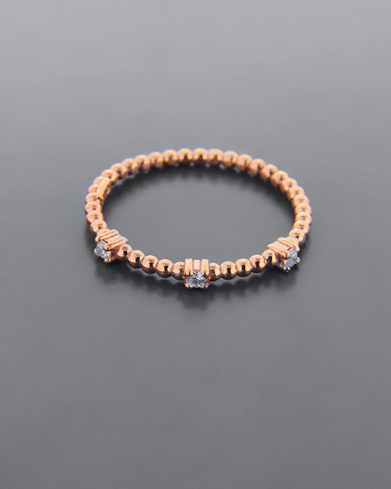 Δαχτυλίδι ροζ χρυσό Κ9 στολισμένο με λευκά cubic ζιργκόν   γαμοσ βέρες γάμου   αρραβώνα βέρες ροζ χρυσές