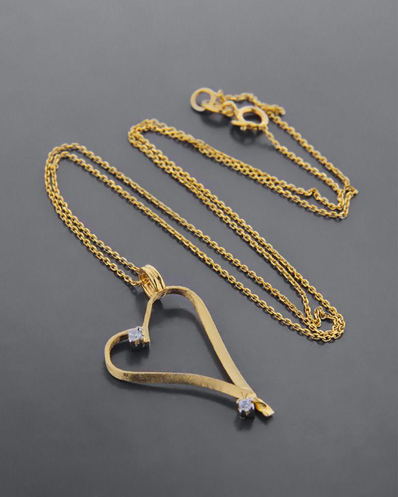 Κολιέ καρδιά χρυσό Κ14 με ζιργκόν   κοσμηματα κρεμαστά κολιέ κρεμαστά κολιέ καρδιές