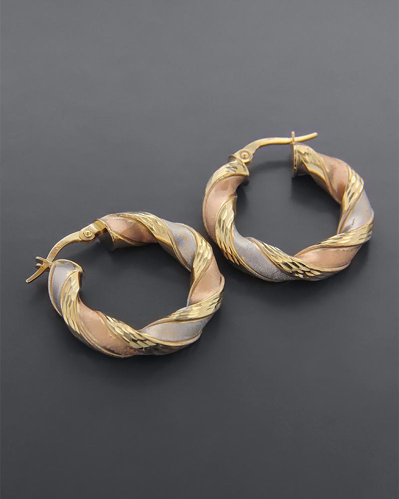 Σκουλαρίκια κρίκοι χρυσά, ροζ χρυσά και λευκόχρυσα Κ9   γυναικα σκουλαρίκια σκουλαρίκια κρίκοι