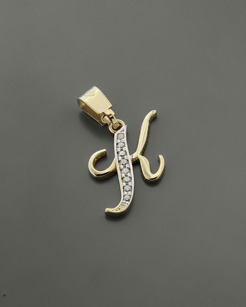 """Μενταγιόν μονόγραμμα """"Κ"""" χρυσό Κ14 διακοσμημένο με ζιργκόν   κοσμηματα κρεμαστά κολιέ κρεμαστά κολιέ μονόγραμμα"""