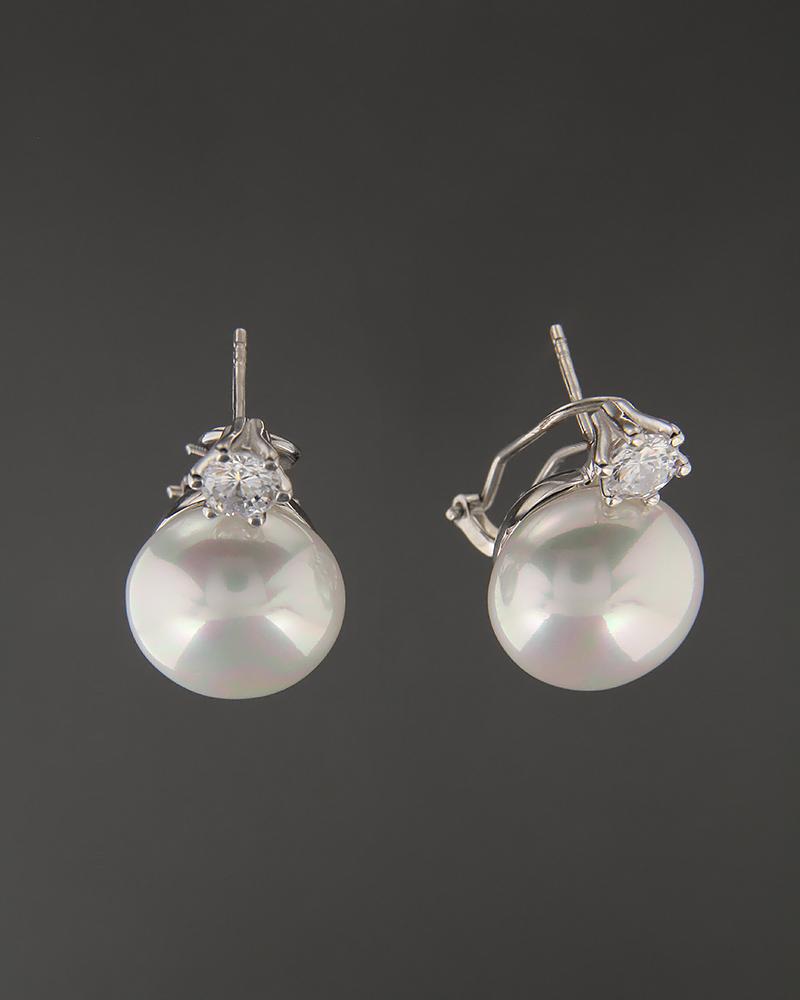 Σκουλαρίκια ασημένια 925 με Ζιργκόν και Πέρλες   γυναικα σκουλαρίκια σκουλαρίκια ασημένια