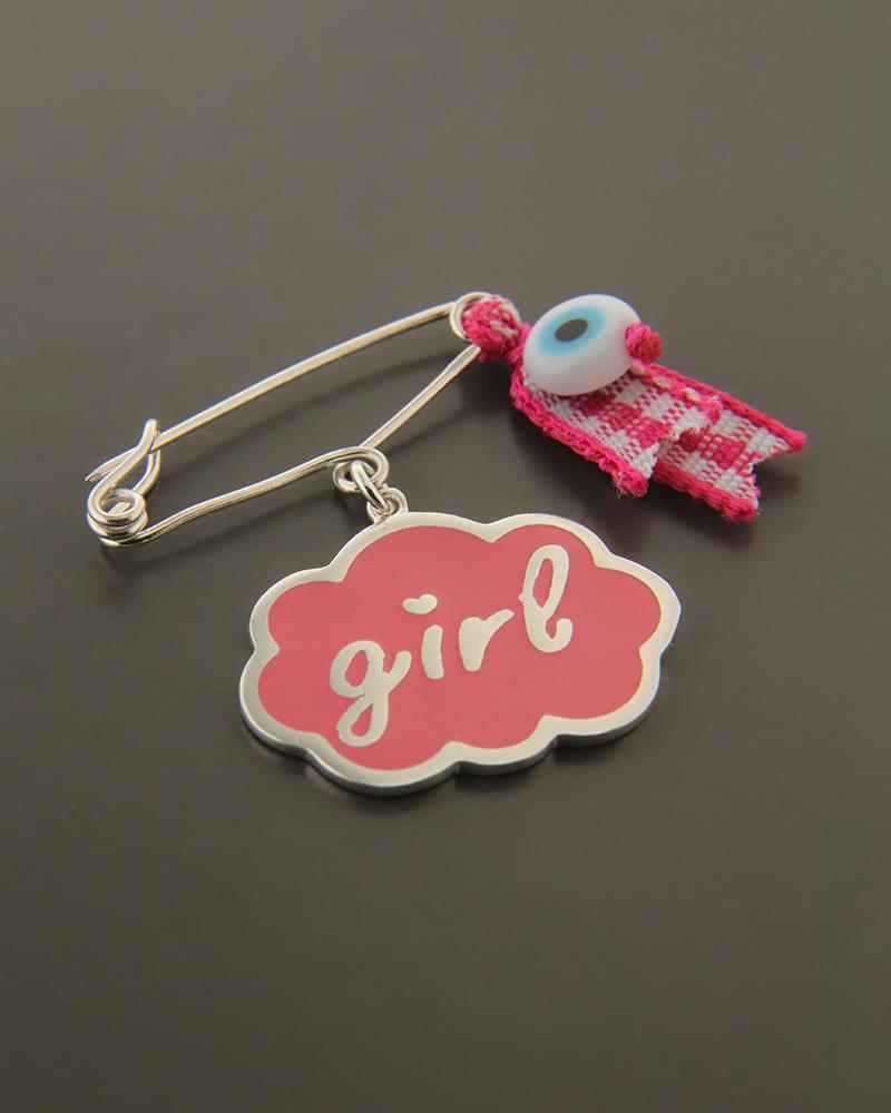 """Παιδική παραμάνα """"girl"""" ασημένια 925   κοσμηματα κρεμαστά κολιέ παιδικά φυλαχτά"""