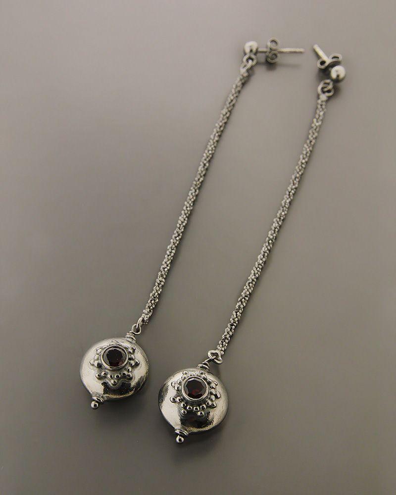 Σκουλαρίκια ασημένια 925 με γρανάδα   γυναικα σκουλαρίκια σκουλαρίκια ημιπολύτιμοι λίθοι