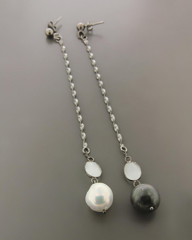 Σκουλαρίκια ασημένια 925 με μαργαριτάρια και χαλαζία   γυναικα σκουλαρίκια σκουλαρίκια ασημένια