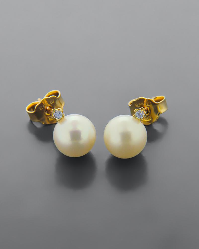 Σκουλαρίκια χρυσά Κ14 με Μαργαριτάρια & Ζιργκόν   γυναικα σκουλαρίκια σκουλαρίκια χρυσά