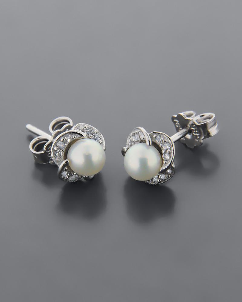 Σκουλαρίκια λευκόχρυσα Κ14 με Μαργαριτάρια & Ζιργκόν   γυναικα σκουλαρίκια σκουλαρίκια λευκόχρυσα
