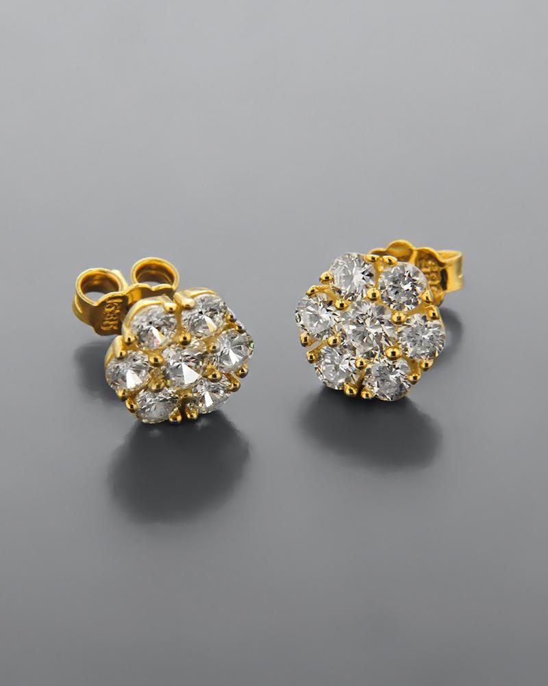 Σκουλαρίκια χρυσά Κ14 με Ζιργκόν   δωρα δώρα για τη μαμά