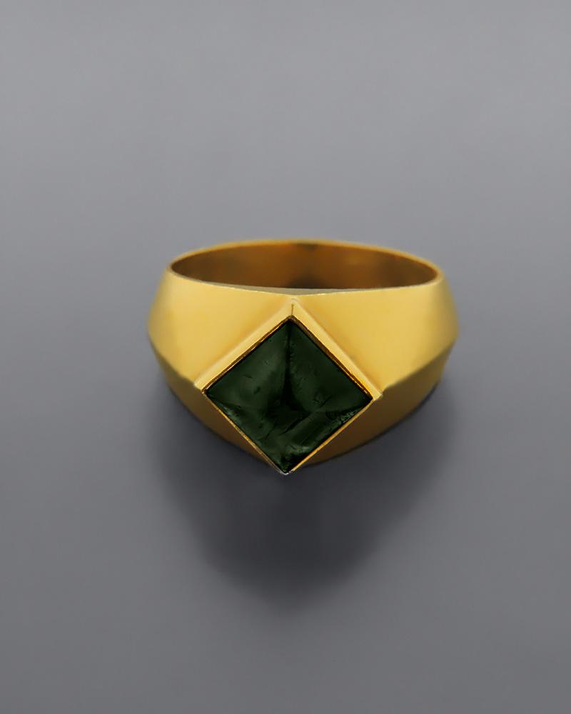Δαχτυλίδι χρυσό Κ18 με Νεφρίτη   γυναικα δαχτυλίδια δαχτυλίδια χρυσά