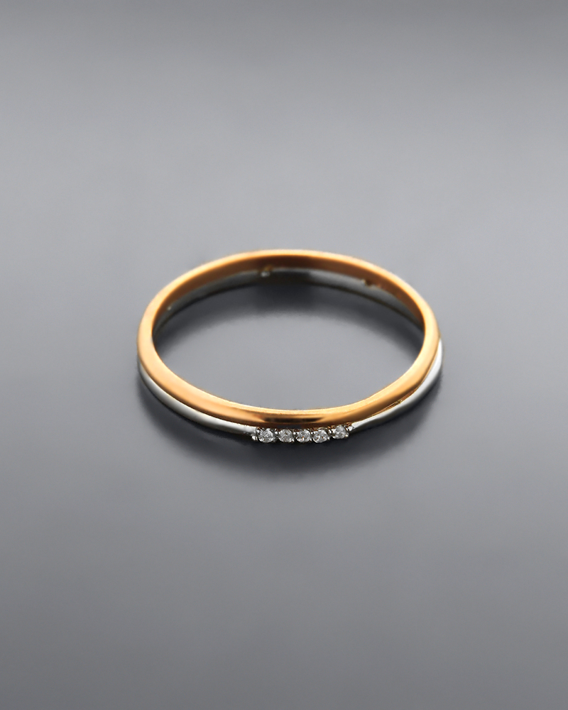 Δαχτυλίδι από ροζ χρυσό και λευκόχρυσο Κ14 με λευκά cubic ζιργκό   γυναικα δαχτυλίδια δαχτυλίδια λευκόχρυσα