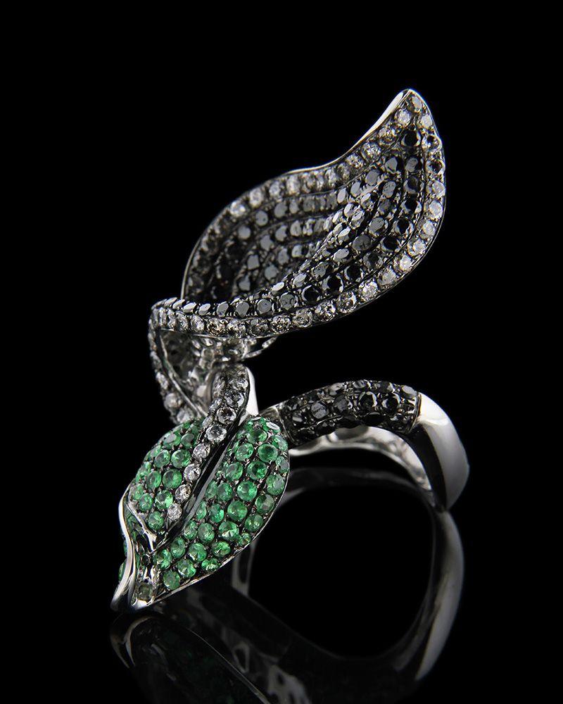 Δαχτυλίδι λευκόχρυσο Κ18 με Διαμάντια & πράσινα ζαφείρια   γυναικα δαχτυλίδια δαχτυλίδια λευκόχρυσα