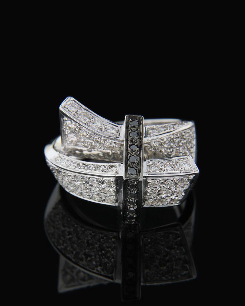Δαχτυλίδι λευκόχρυσο Κ18 με Διαμάντια & Διαμάντια Black