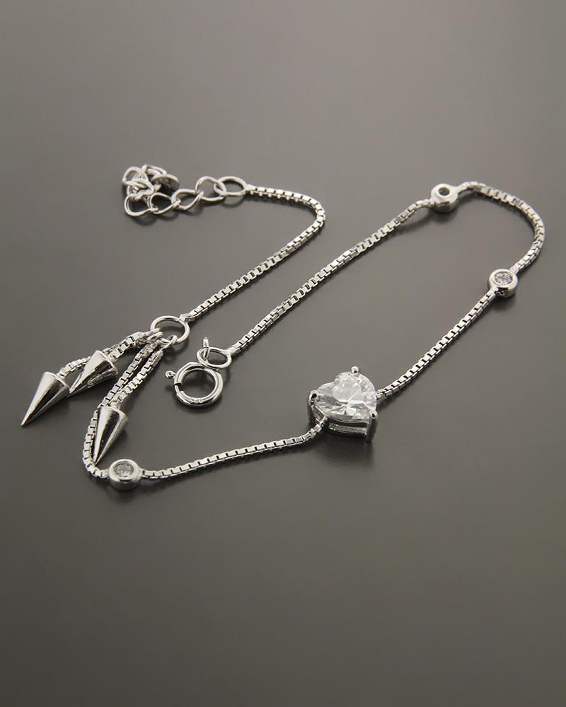 Βραχιόλι ασημένιο 925 με ζιργκόν   κοσμηματα κοσμήματα με καρδιές