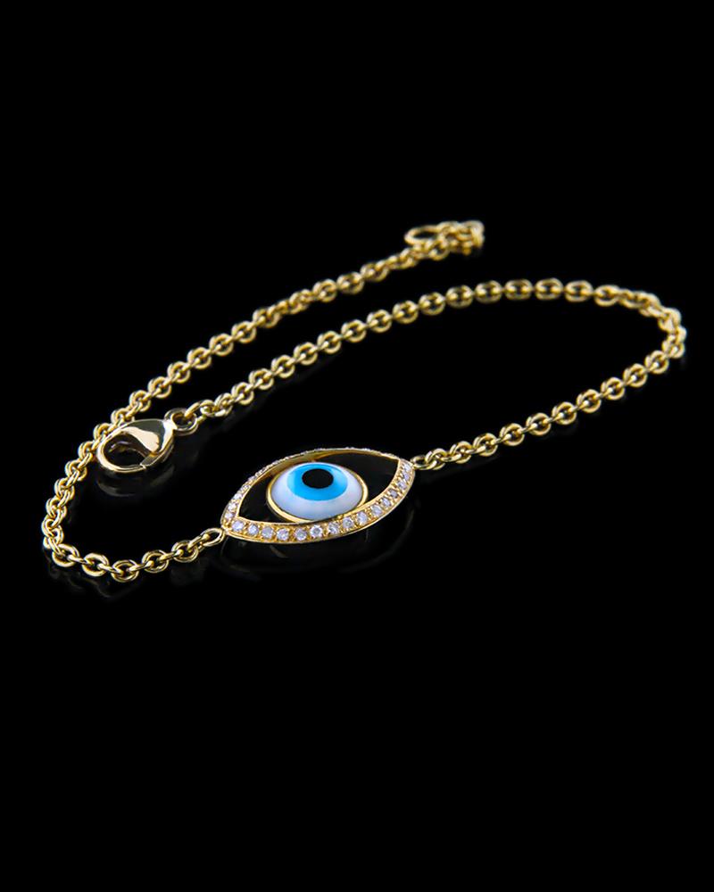 Βραχιόλι χρυσό μάτι Κ18 με Διαμάντια   γυναικα βραχιόλια βραχιόλια χρυσά