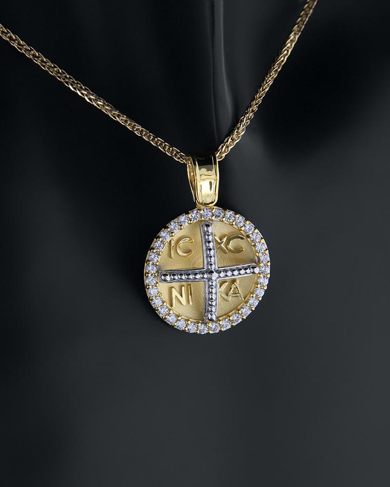 Κωνσταντινάτο φυλαχτό χρυσό και λευκόχρυσο Κ14 με ζιργκόν   κοσμηματα κρεμαστά κολιέ παιδικά φυλαχτά