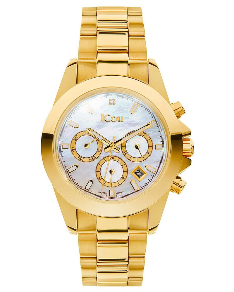 Ρολόι JCOU Emerald Dual Time gold JU17055-3   brands jcou