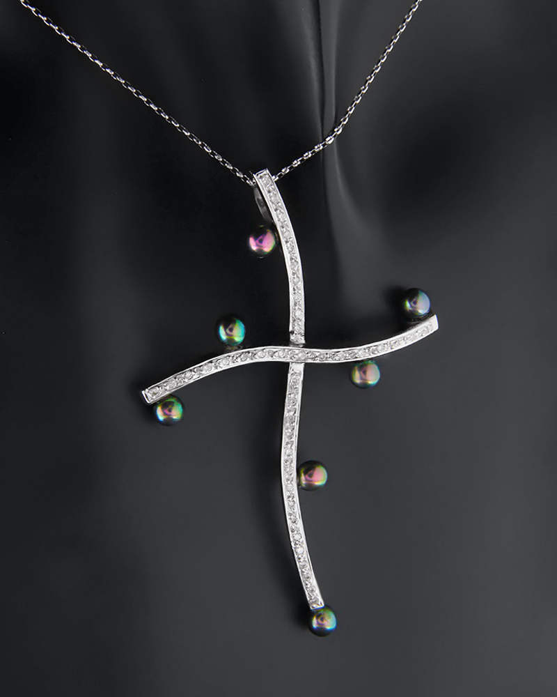 Σταυρός λευκόχρυσος Κ18 με Διαμάντια και Μαργαριτάρια   γυναικα σταυροί σταυροί με διαμάντια