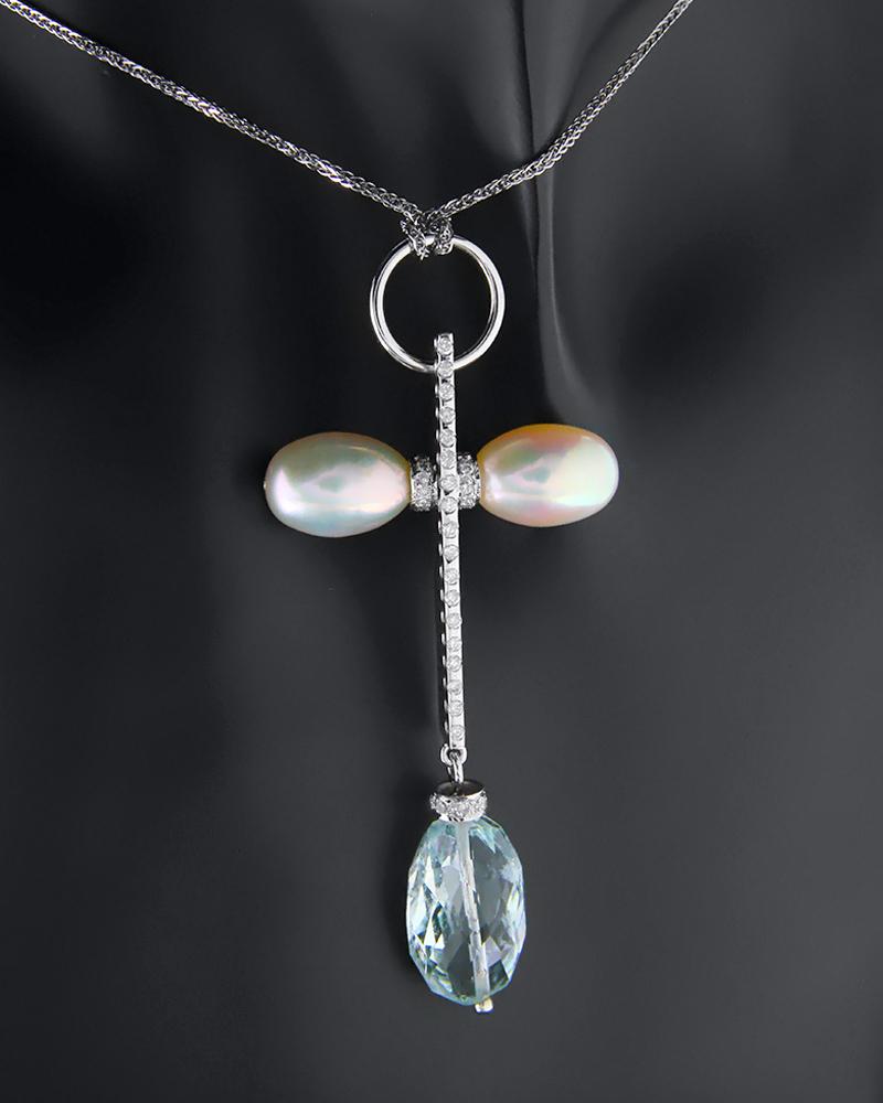 Σταυρός λευκόχρυσος Κ18 με Διαμάντια, Blue Topaz & Μαργαριτάρια   γυναικα σταυροί σταυροί λευκόχρυσοι