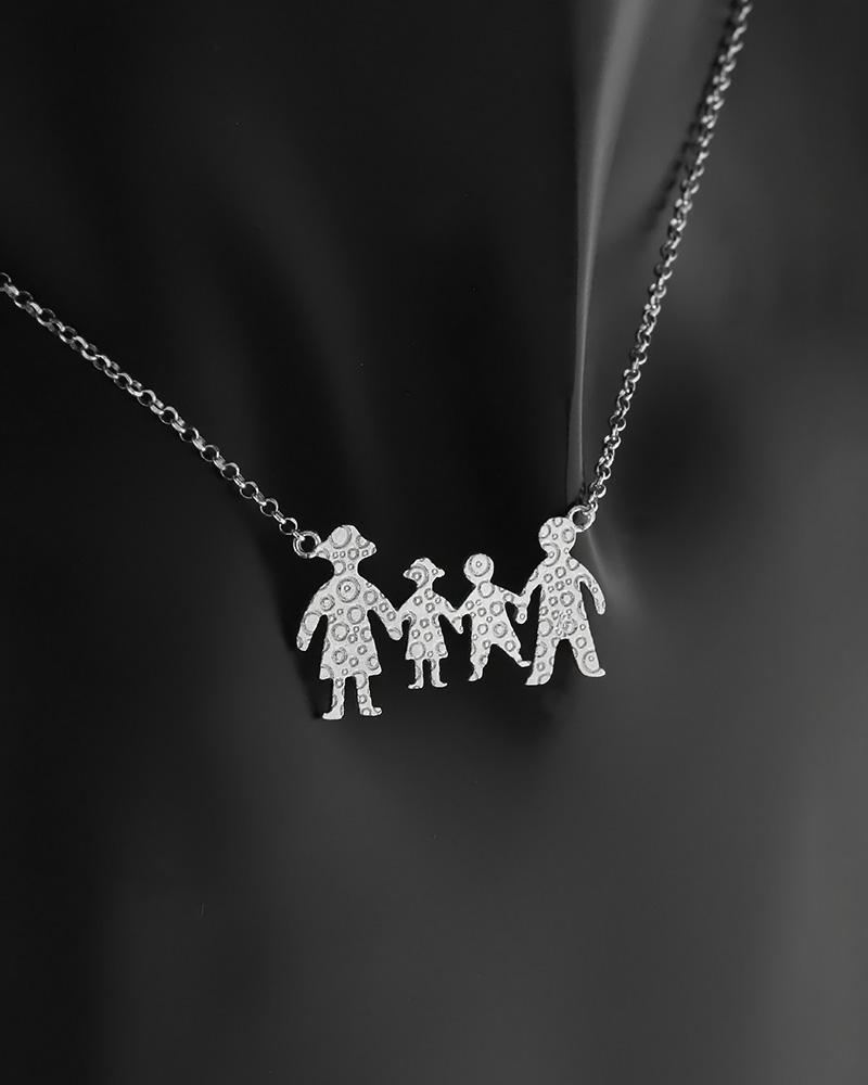 Κολιέ οικογένεια ασημένιο 925   γυναικα κρεμαστά κολιέ κρεμαστά κολιέ ασημένια