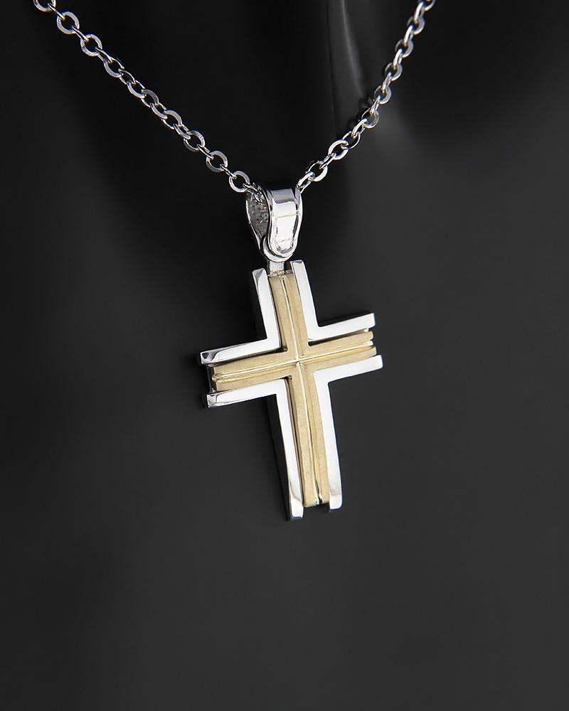 Σταυρός λευκόχρυσος και χρυσός Κ14   κοσμηματα σταυροί βαπτιστικοί σταυροί για αγόρι