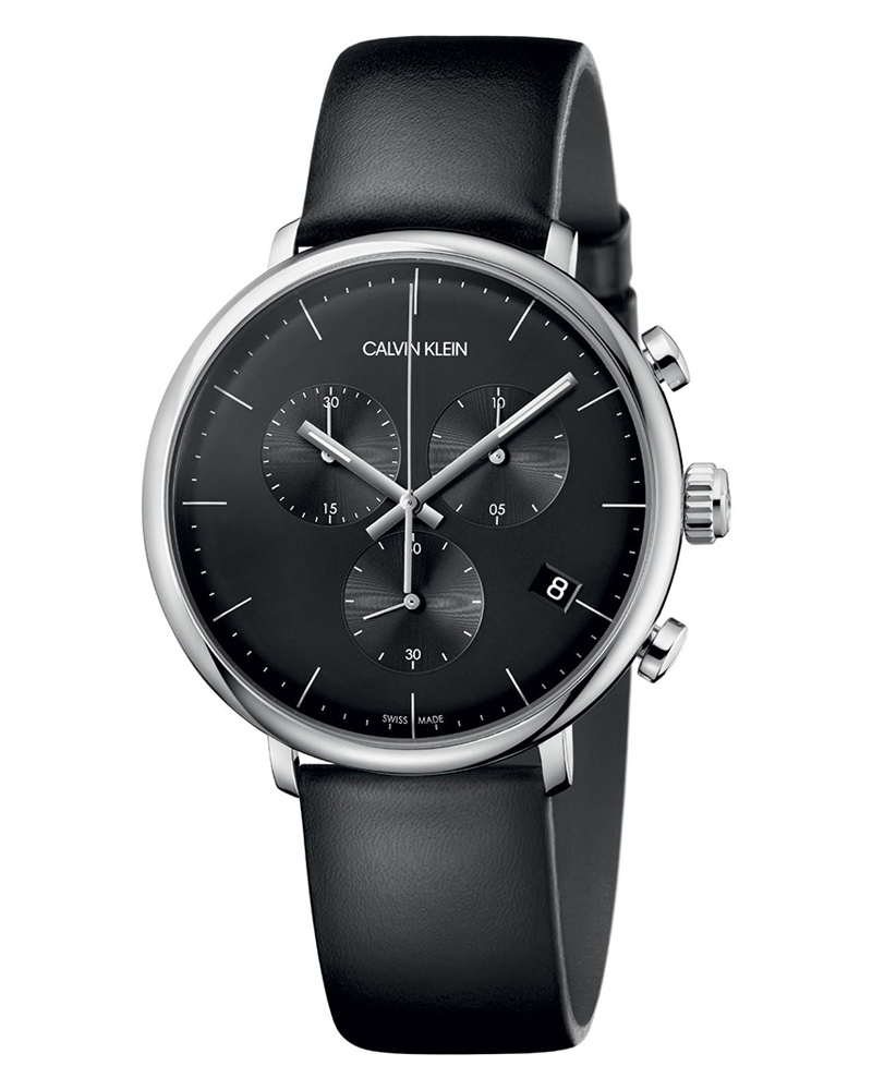 Calvin KLEIN High Noon Chronograph Black Leather Strap K8M271C1   brands calvin klein