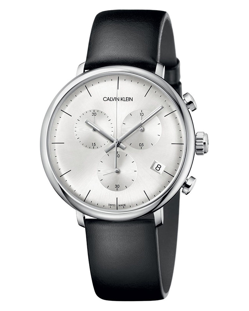 Calvin KLEIN High Noon Chronograph Black Leather Strap K8M271C6   brands calvin klein