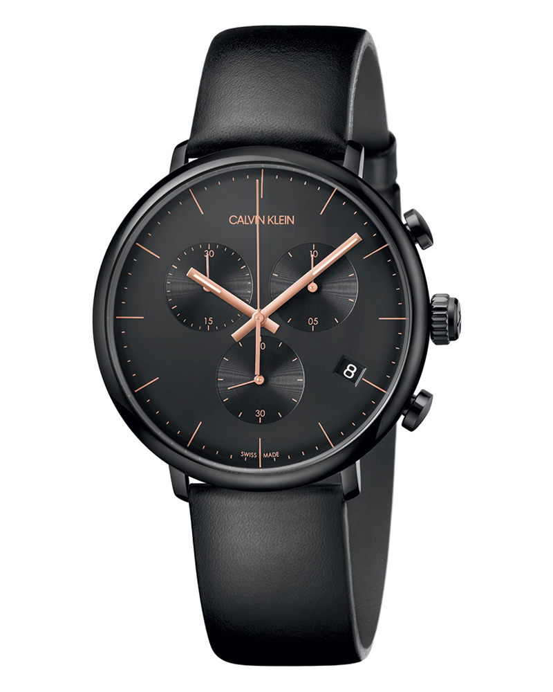 Calvin KLEIN High Noon Chronograph Black Leather Strap K8M274CB   brands calvin klein