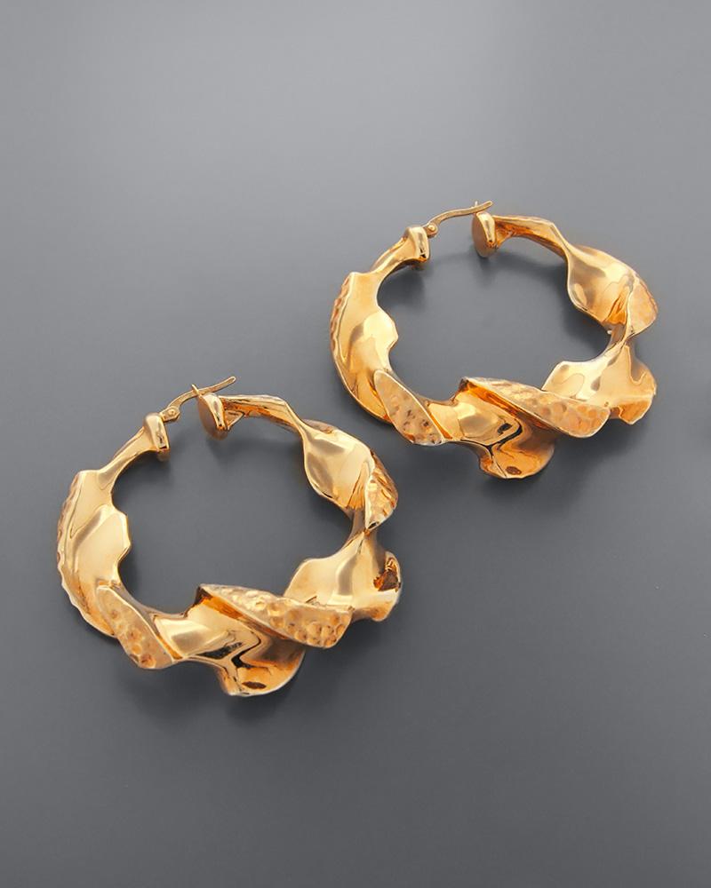 Σκουλαρίκια κρίκοι ροζ χρυσά Κ14   κοσμηματα σκουλαρίκια σκουλαρίκια κρίκοι