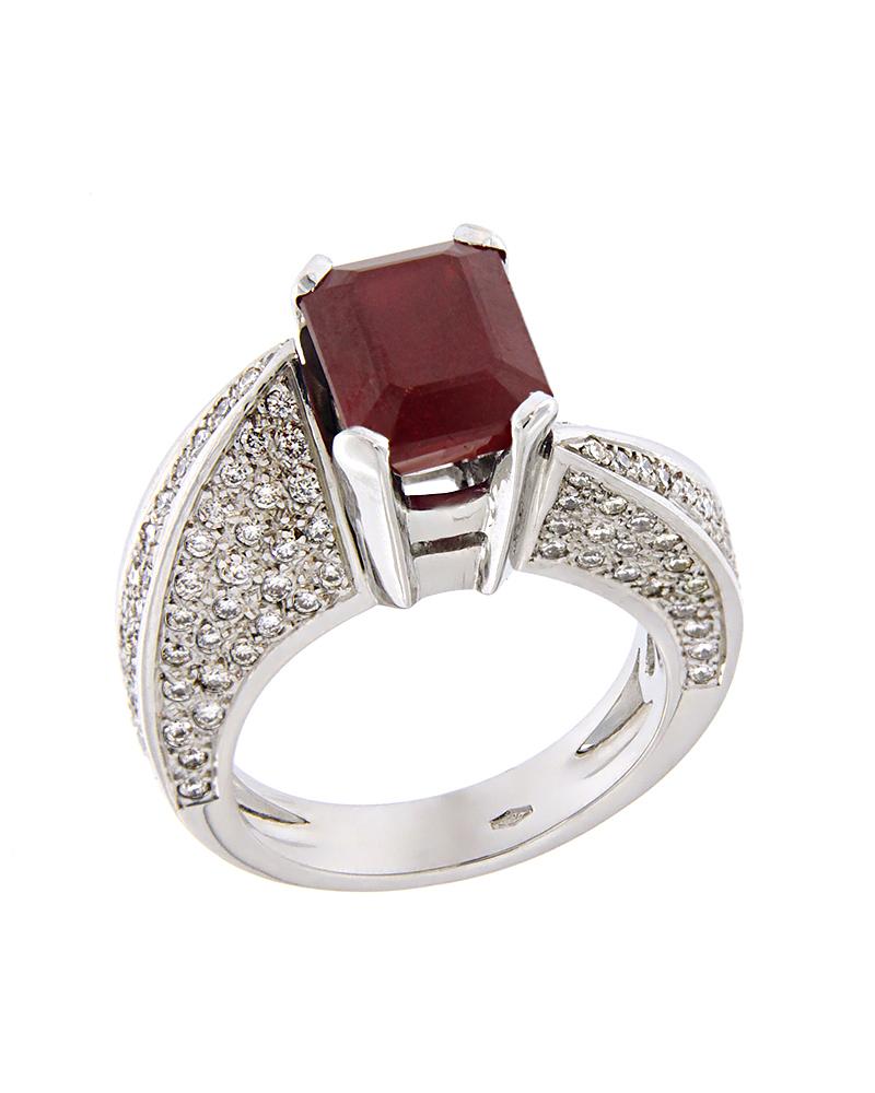 Δαχτυλίδι λευκόχρυσο Κ18 με Διαμάντια & Ρουμπίνι   γυναικα δαχτυλίδια δαχτυλίδια λευκόχρυσα