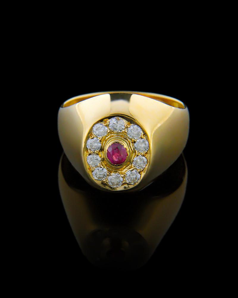 Δαχτυλίδι χρυσό Κ18 με Διαμάντια & Ρουμπίνι
