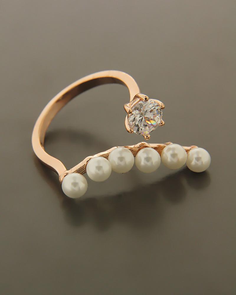 Δαχτυλίδι ασημένιο 925 με πέρλες και ζιργκόν   νεεσ αφιξεισ κοσμήματα γυναικεία
