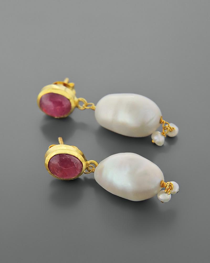 Σκουλαρίκια ασημένια 925 με μαργαριτάρια και τουρμαλίνες   γυναικα σκουλαρίκια σκουλαρίκια ασημένια