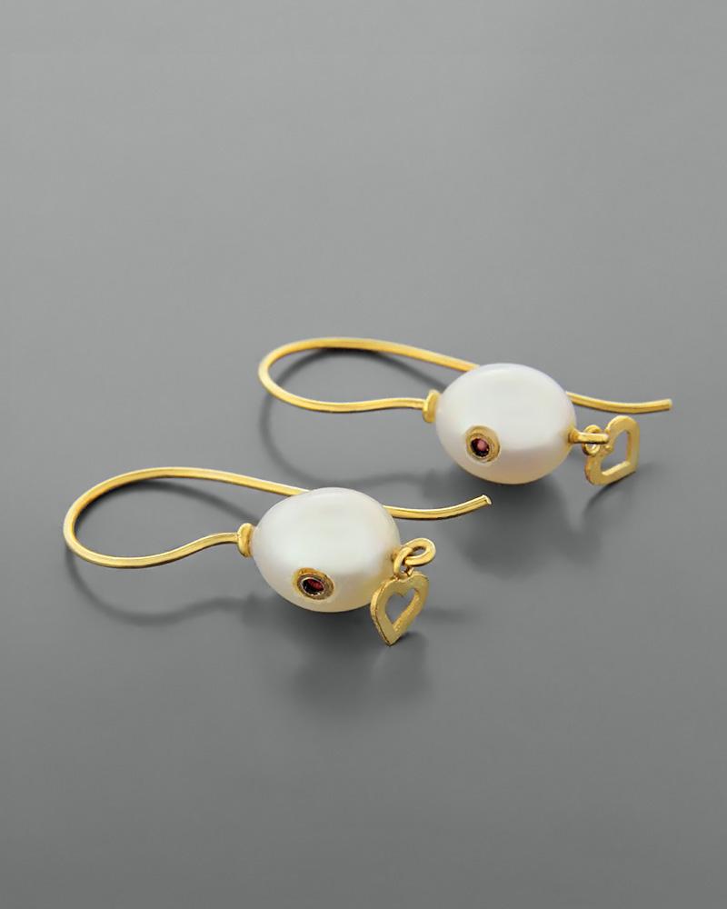 Σκουλαρίκια ασημένια 925 με μαργαριτάρια και ρουμπίνια   γυναικα σκουλαρίκια σκουλαρίκια ασημένια