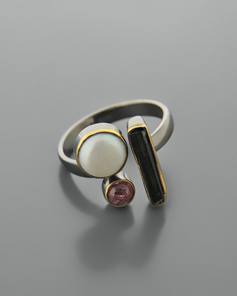 Δαχτυλίδι ασημένιο 925 με τουρμαλίνες   κοσμηματα δαχτυλίδια δαχτυλίδια fashion