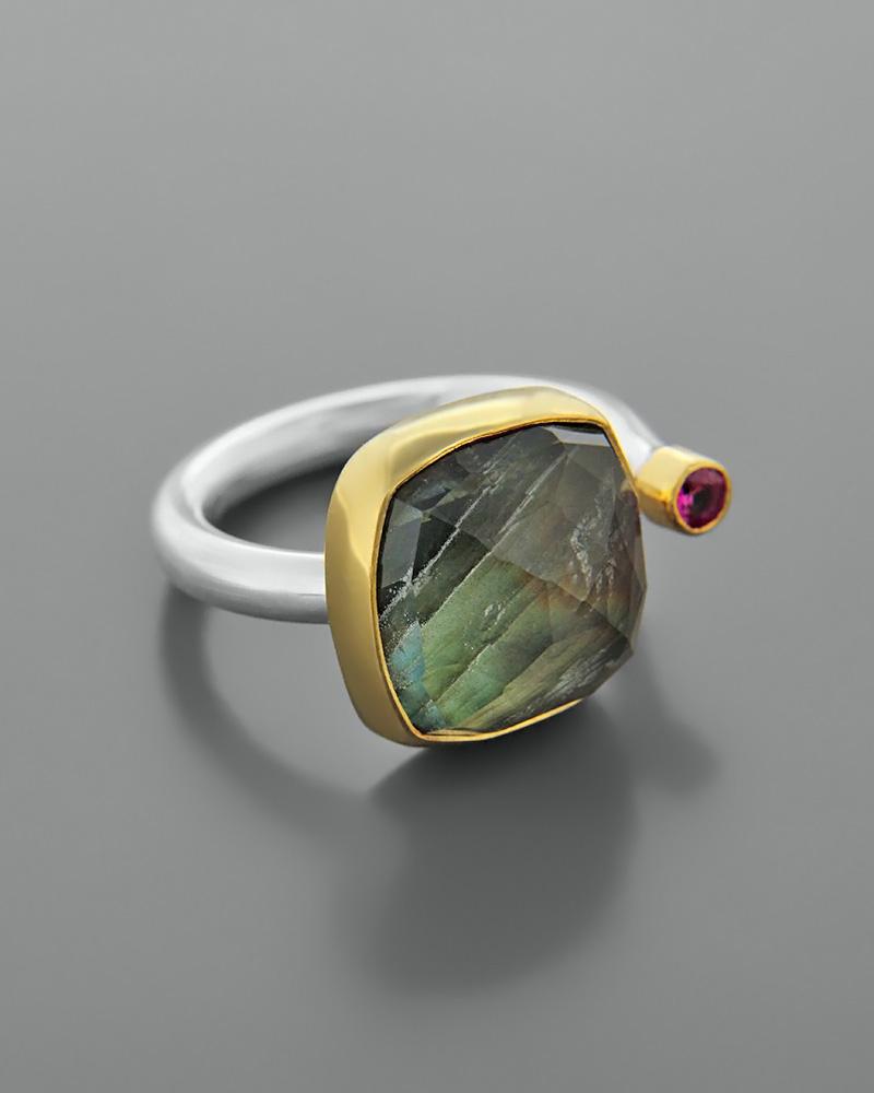 Δαχτυλίδι ασημένιο 925 με λαβραδορίτη και ζιργκόν   κοσμηματα δαχτυλίδια δαχτυλίδια fashion