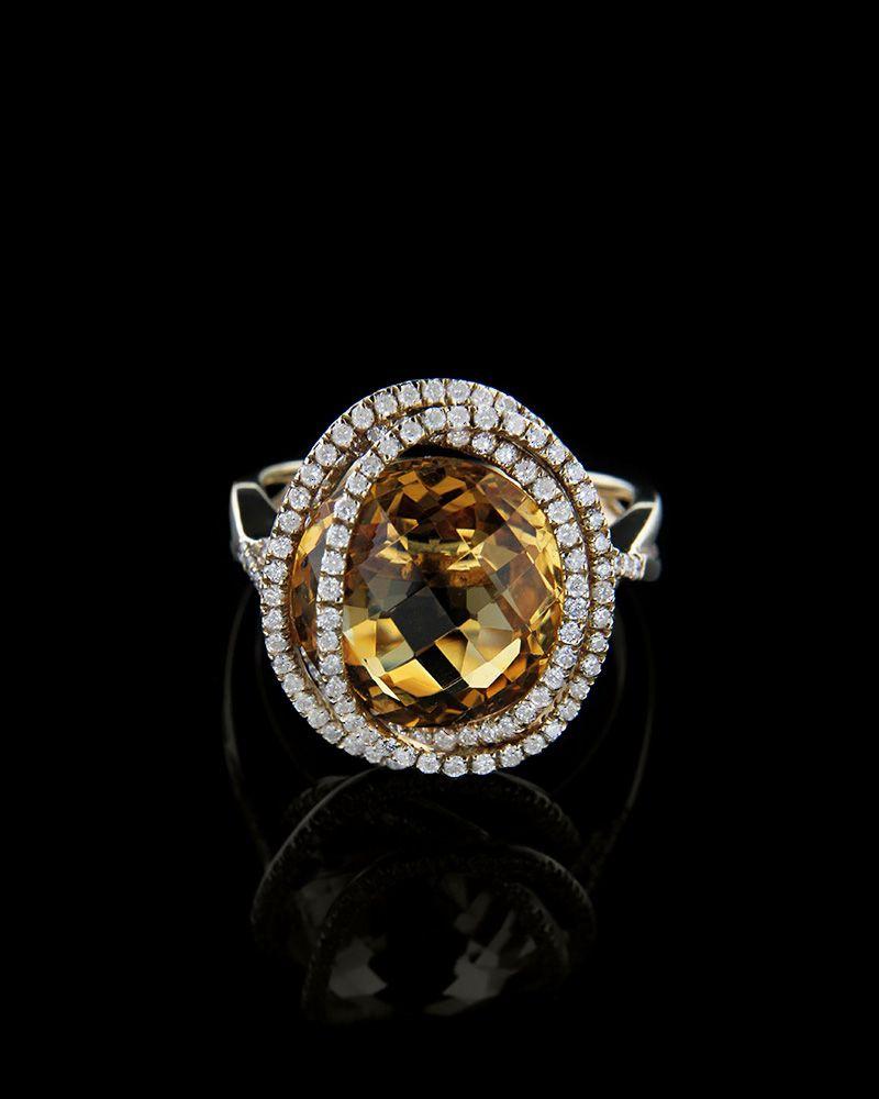 Δαχτυλίδι χρυσό Κ18 με Διαμάντια και Citrine   γυναικα δαχτυλίδια δαχτυλίδια χρυσά
