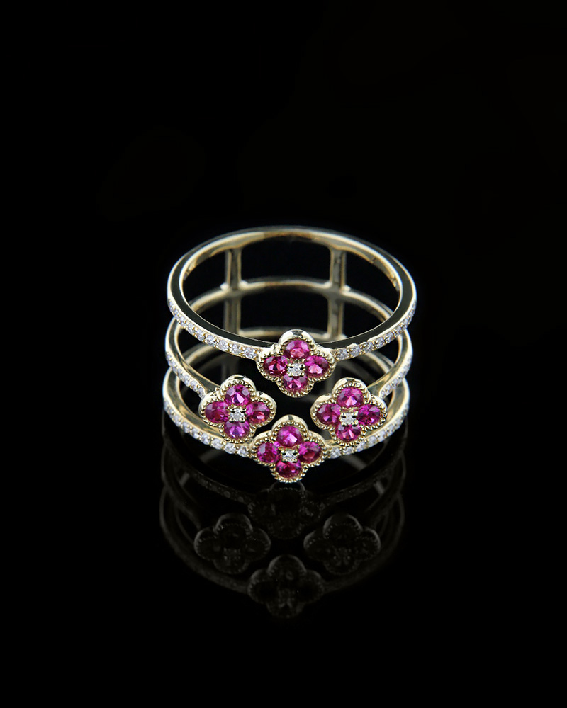 Δαχτυλίδι χρυσό Κ18 με Διαμάντια και Ρουμπίνια   γυναικα δαχτυλίδια δαχτυλίδια χρυσά