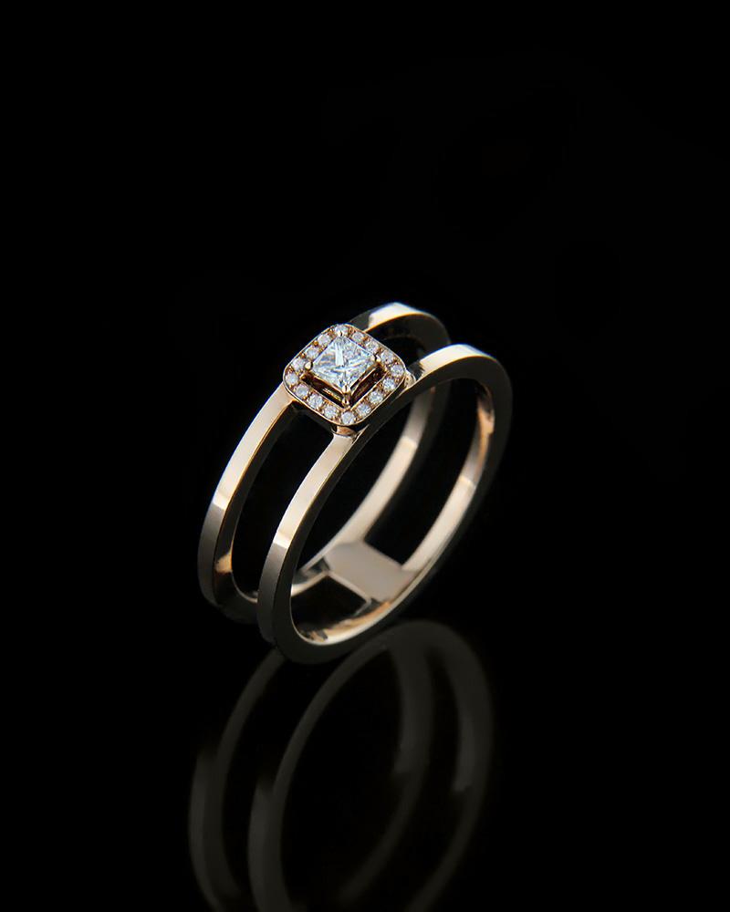 Δαχτυλίδι μονόπετρο ροζ χρυσό Κ18 με Διαμάντια R0023   γυναικα δαχτυλίδια μονόπετρα με διαμάντια