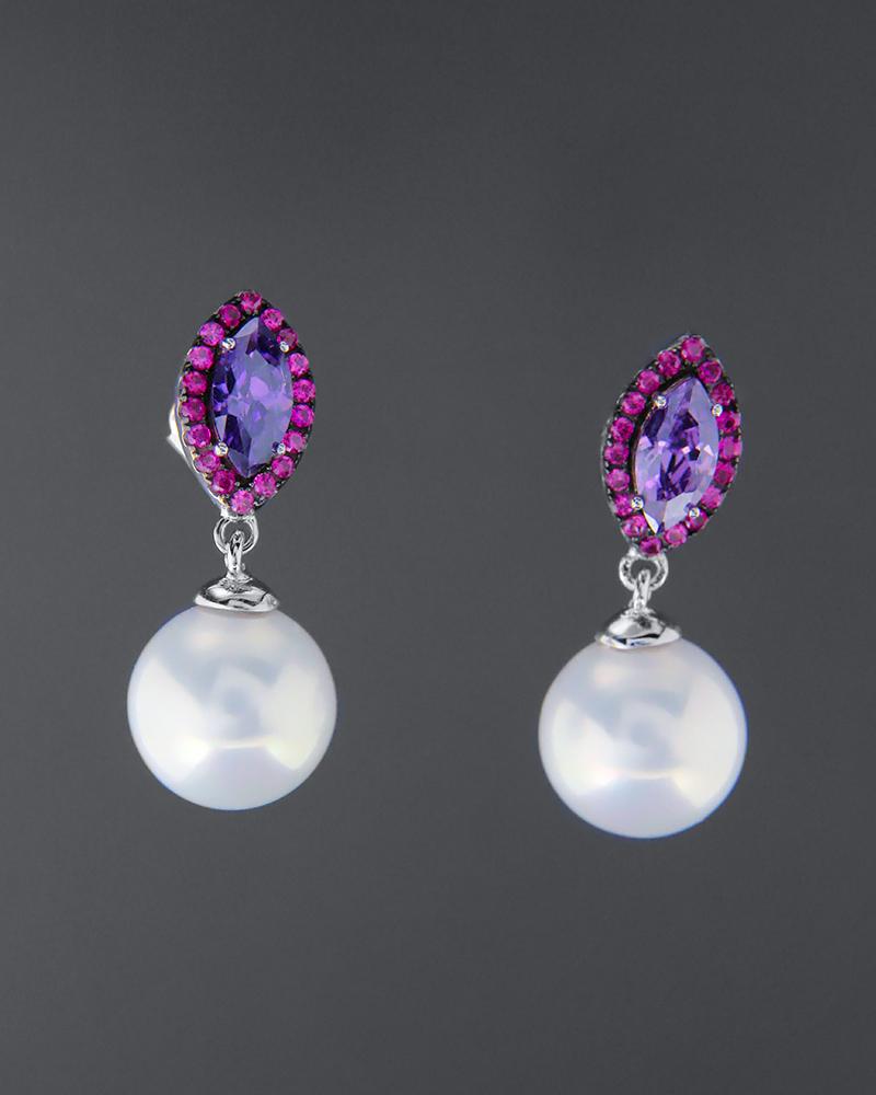 Σκουλαρίκια ασημένια 925 με πέρλες και ζιργκόν   γυναικα σκουλαρίκια σκουλαρίκια ασημένια