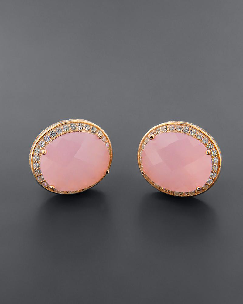 Σκουλαρίκια ασημένια 925 με quartz και ζιργκόν   κοσμηματα σκουλαρίκια σκουλαρίκια ημιπολύτιμοι λίθοι