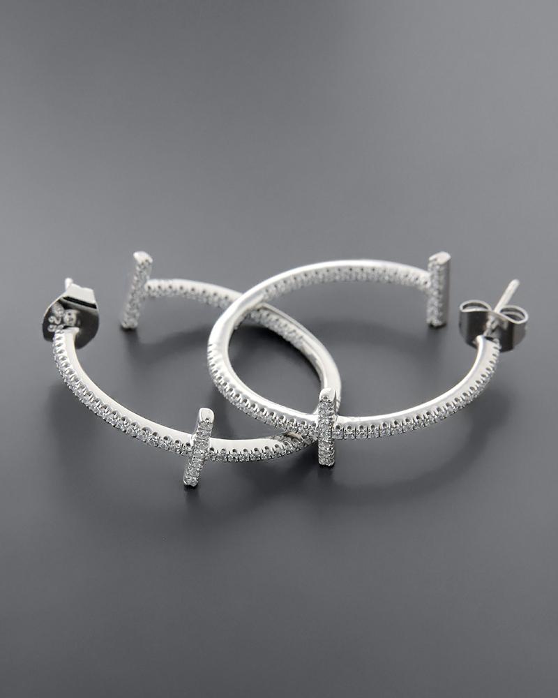 Σκουλαρίκια κρίκοι από ασήμι 925 με ζιργκόν   κοσμηματα σκουλαρίκια σκουλαρίκια κρίκοι