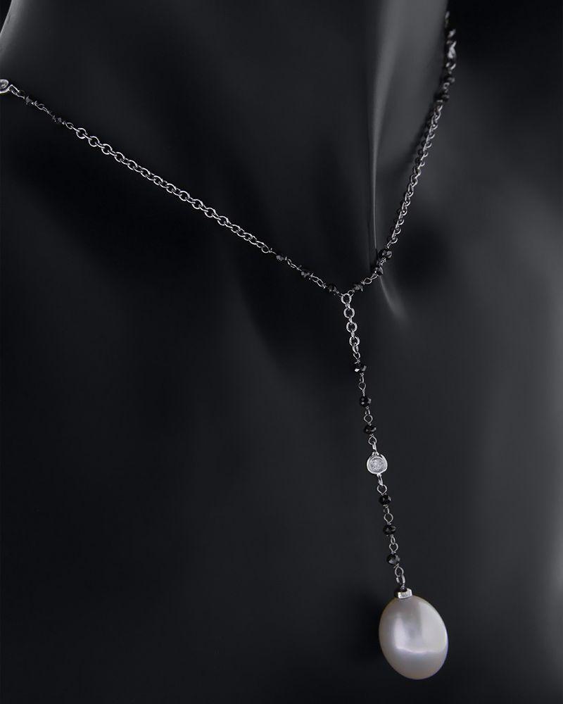 Κολιέ λευκόχρυσο Κ18 με Διαμάντια και Μαργαριτά   γυναικα κρεμαστά κολιέ κρεμαστά κολιέ λευκόχρυσα