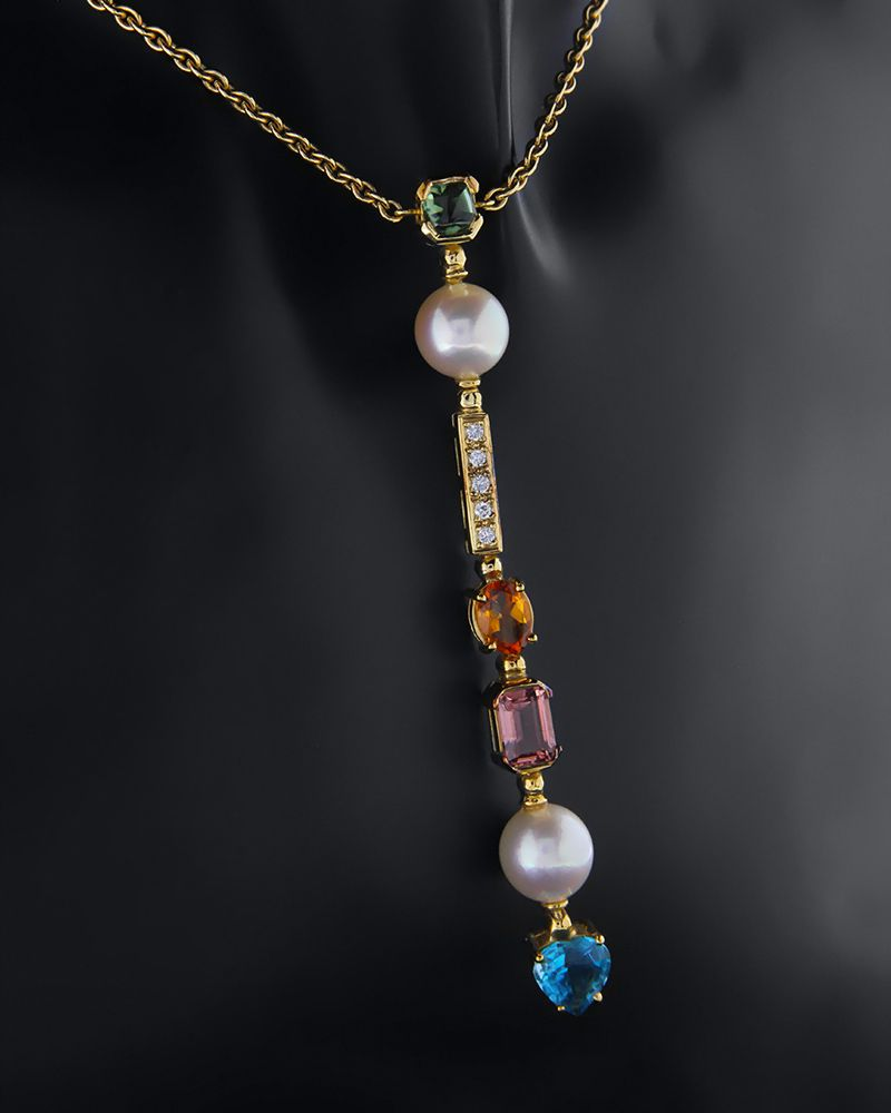 Κολιέ χρυσό Κ18 με Διαμάντια, Μαργαριτάρια, Blue Topaz, Citrine,   γυναικα κρεμαστά κολιέ κρεμαστά κολιέ διαμάντια