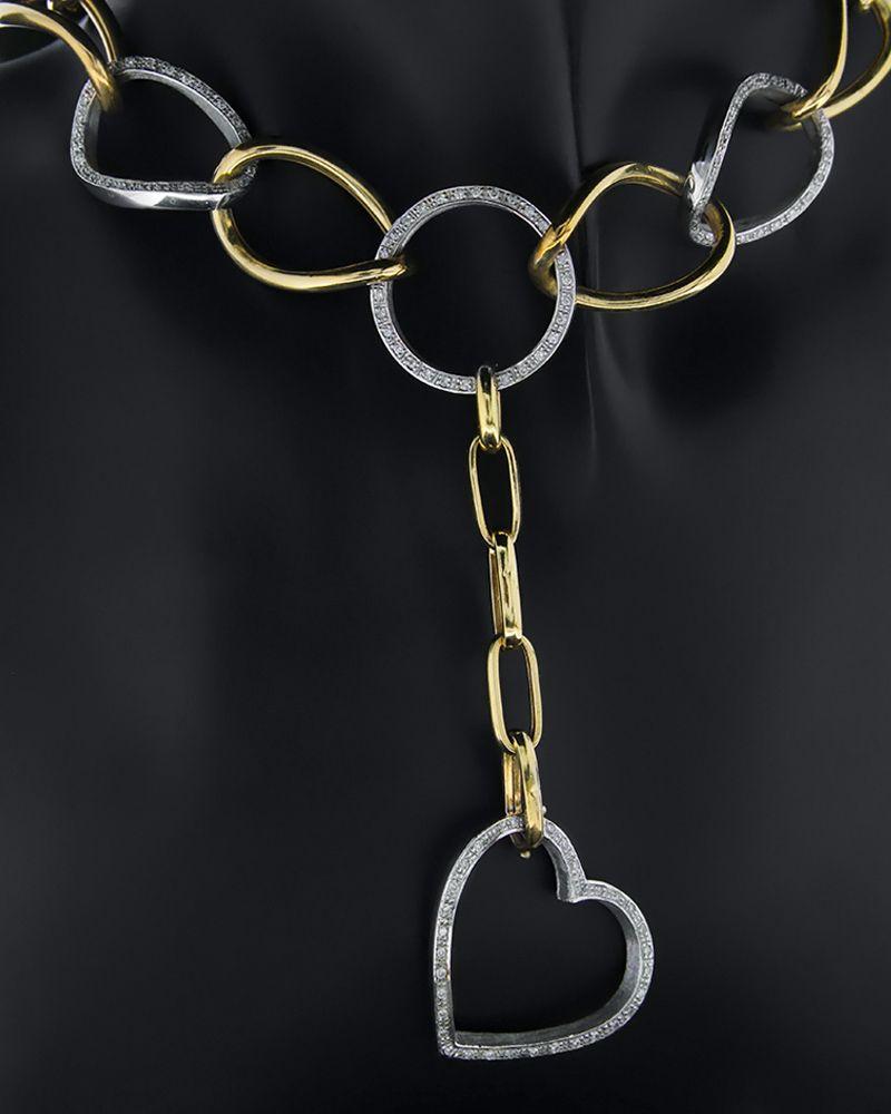 Κολιέ χρυσό & λευκόχρυσο Κ18 με Διαμάντια   γυναικα κρεμαστά κολιέ κρεμαστά κολιέ διαμάντια