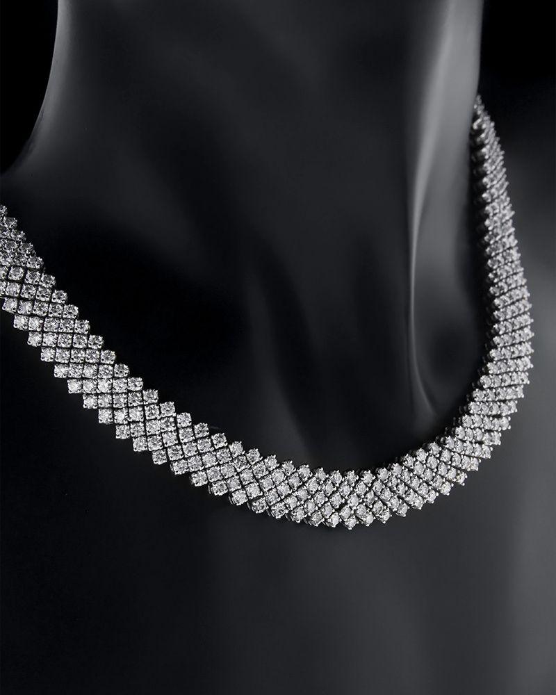 Κολιέ λευκόχρυσο Κ18 με Διαμάντια   γυναικα κρεμαστά κολιέ κρεμαστά κολιέ λευκόχρυσα