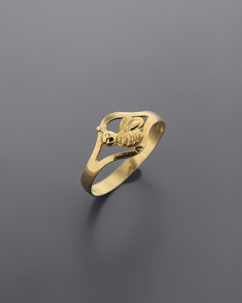 Δαχτυλίδι μέλισσα παιδικό χρυσό Κ18   παιδι δαχτυλίδια παιδικά