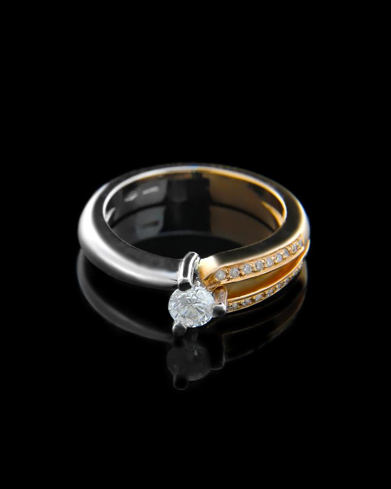 Μονόπετρο Δαχτυλίδι από λευκόχρυσο και ροζ χρυσό Κ18 διακοσμημέν   γυναικα δαχτυλίδια δαχτυλίδια λευκόχρυσα