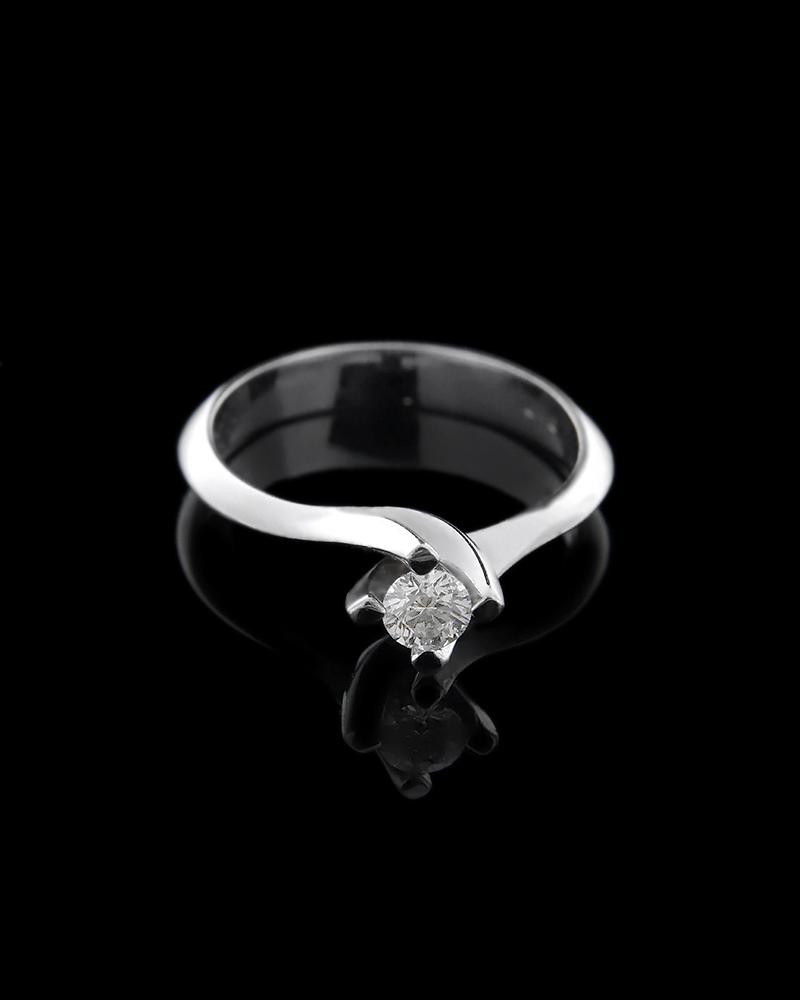 Δαχτυλίδι μονόπετρο λευκόχρυσο Κ18 με ΔιαμάντιΟ