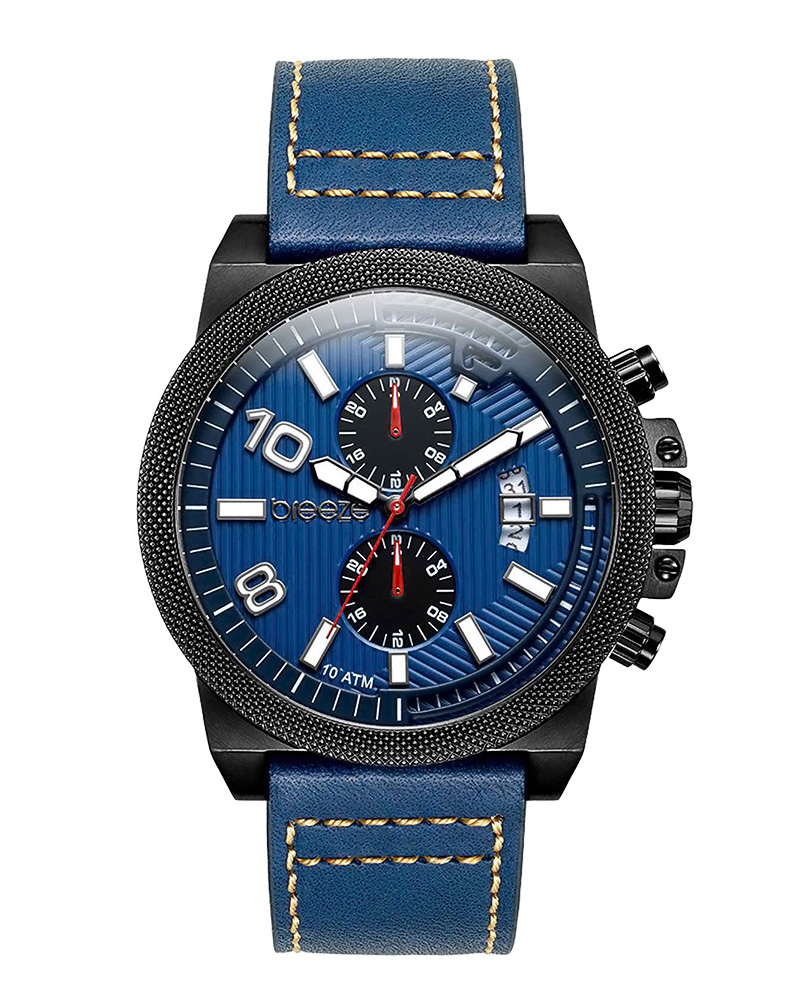 BREEZE Renegade Dual Time Blue Leather Strap 110852.3   brands breeze