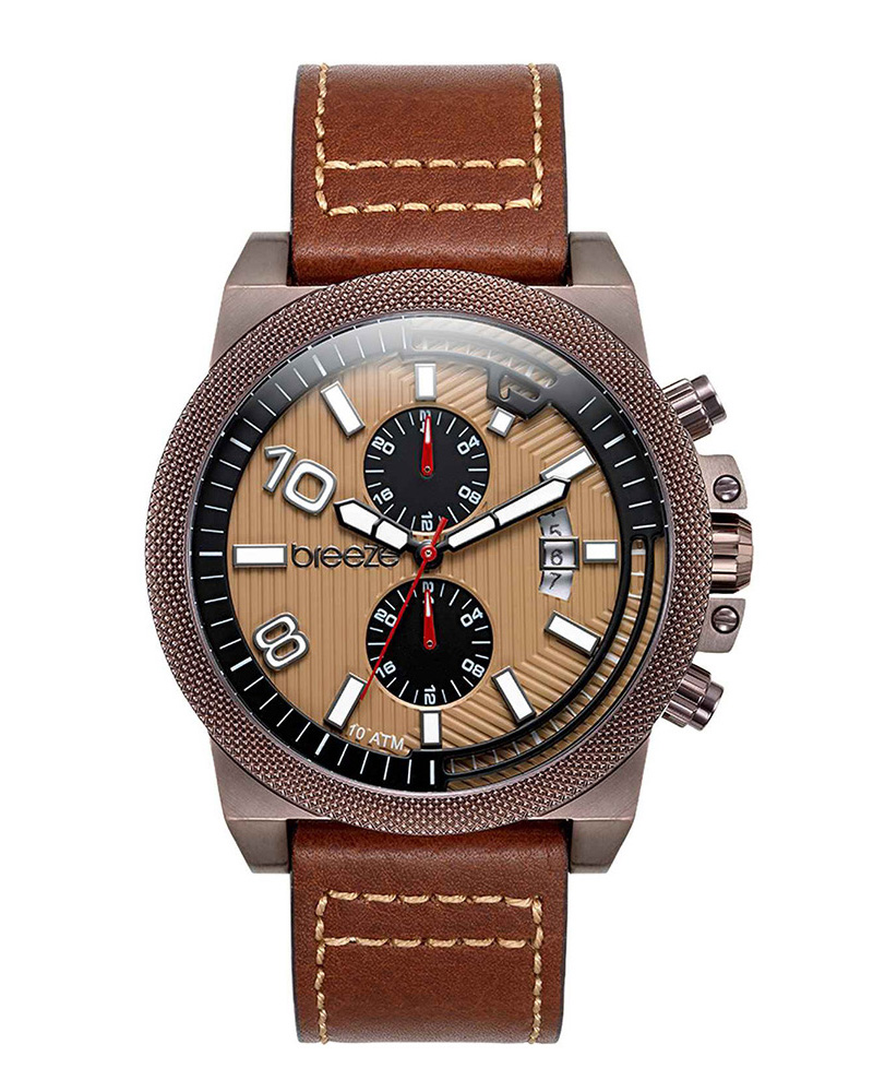 BREEZE Renegade Dual Time Brown Leather Strap 110852.6   brands breeze