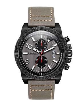 BREEZE Renegade Dual Time Grey Leather Strap 110852.8 817c2a2f8cd